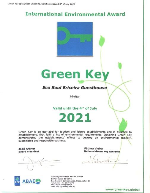 Galardao Green Key 2021 Eco Soul Ericeira Guesthouse